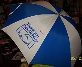 PaineWebber golf umbrella signed by Arnold Palmer