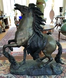Signed Bronze Sculpture, Guillame Coustou (1677-1746), entitled Horse Tamer from Marly-de-Roi, after the original marble sculpture located in Paris