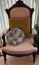 Victorian Carved Parlor Chair, Scroll & Leaf Design