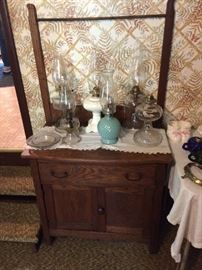 Antique wash stand... oil lamps