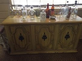 Buffet or entry hall piece, vintage bottles, decanter collection