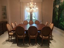 Leather inset solid mahogany 7'X 7' dining table and 12  chairs