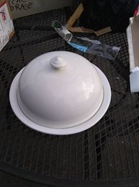 New in box, covered white cheese or cake plate. 20.00