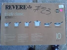New in box, 10 piece pot and pans set.Revereware, Farberware 60.00 is half of what I paid.