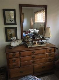 Maple dresser. Part of bedroom set with bed, mirror, two end tables, chest of drawers and chair