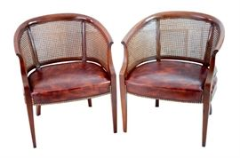 Pair HICKORY CHAIR George III Barrel Back Chairs
