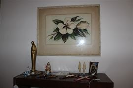 Religious items and magnolia watercolor (framed and matted)