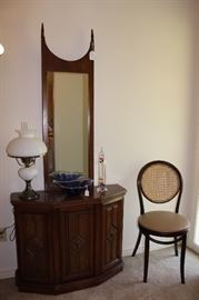 Hall console and mirror, vintage cane back chairs, hobnail lamp