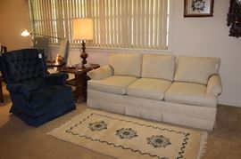 Nice sofa, Lazy Boy recliner, side table and lamp along with handmade rug