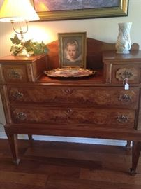 This 4 drawer antique burled wood dresser is extraordinary!