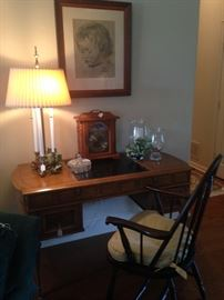 Another great desk; Windsor chair; more framed art