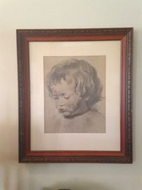 Framed art of a young child