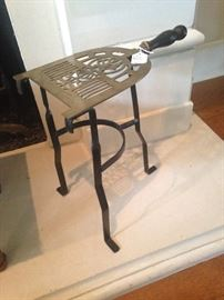 Old brass & iron trivet - used for kettles in the fireplace  (to keep the liquid hot )