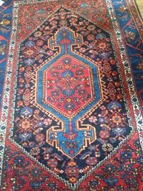 Brilliantly colored Persian Hamadan rug 4 feet 2 inches x 6 feet 5 inches
