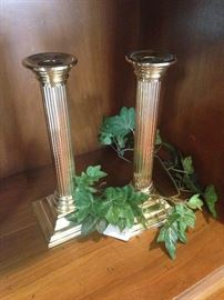 Pair of Smithsonian brass candle sticks