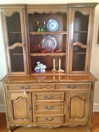 Country French Provincial breakfront china cabinet