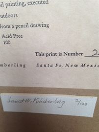 Signed and numbered by Janet Kimberling