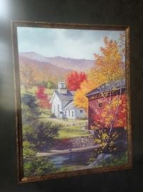 "Limited edition print (2/100): ""Covered Bridge and Church""  by Janet W.  Kimberling"