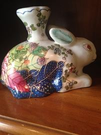 Tobacco leaf porcelain rabbit candle holder