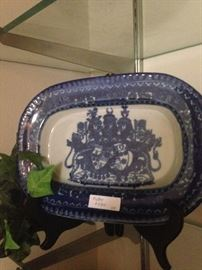 Blue & white antique platter