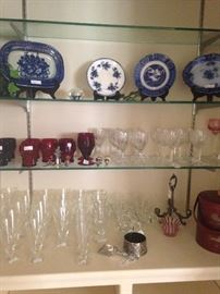 Blue & white selections; glassware