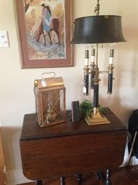Barley twist drop leaf table; decorative lantern and lamp