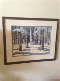 Framed snow scene by artist Adele Lewis