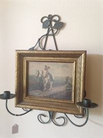 Soldier on a horse framed art; wall candle holder