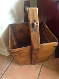 Antique  Asian rice bucket