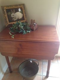 Drop leaf maple table; framed rabbit picture by Penny Nichols-Sanders; antique brass  bucket with handle