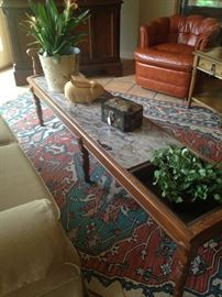 Extra long coffee table/bench with marble top.