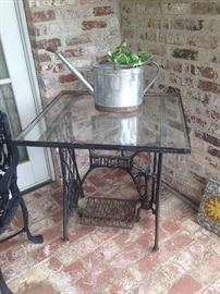 Another vintage Singer treadle sewing machine base  glass top table