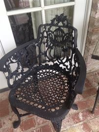 One of two patio chairs