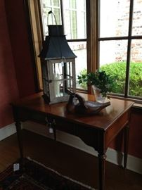 Perfect sofa or entry table; large decorative lantern with globe;  wooden decoy