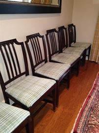 Six matching dining chairs