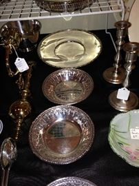 Sterling and silver plate dishes