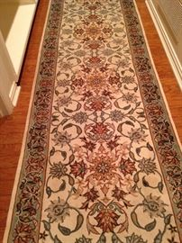 2 feet 7 inches x 12 feet 2 inches handmade Kashan wool rug
