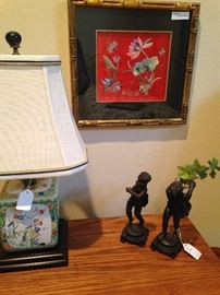 Small Asian lamp and framed silk