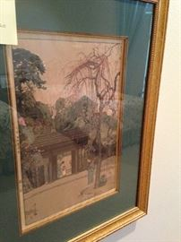 Japanese framed art by  Eda Castle - circa 1920