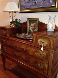 4 drawer antique burled wood dresser