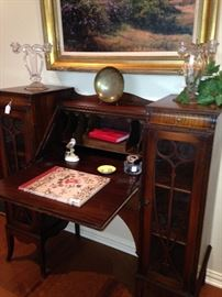 What an incredible secretary with  storage & display space!