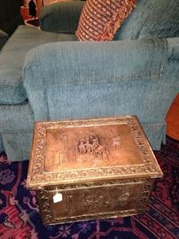 Brass Victorian embossed fireplace coal box