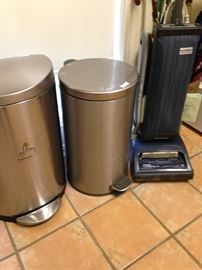 Metal trash cans; Hoover Heavy Duty Vacuum