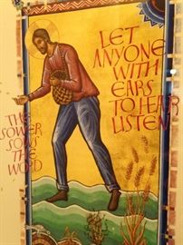 "Biblical art: ""Let anyone with ears to hear listen.""  Mark 4:23"