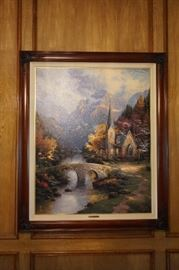 """Authentic Thomas Kinkade """"The Mountain Chapel"""", 40"""" x 32"""" on Canvas Certificate of Authenticity Included"""