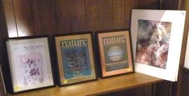 Three framed magazine covers and one unframed  signed lithograph