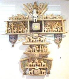 """Folk art Noah's Ark wooden wall hanging cross, 42""""  L X 36.5"""" W"""