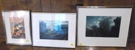 Two framed and matted photographs, one is signed,  and one framed illustration