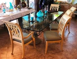 Gorgeous Ogee Beveled Glass Dining Table with 8 chairs