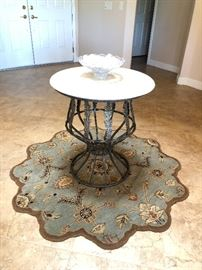 Marble topped metal entry table